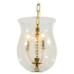 Italian Midcentury Murano Three-Light Cloche Pendant with Twisted Volutes