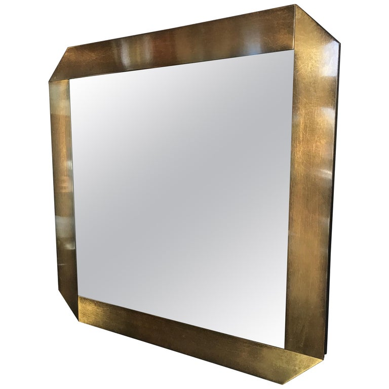Italian Midcentury Octagonal Bronze Frame Mirror 1970s