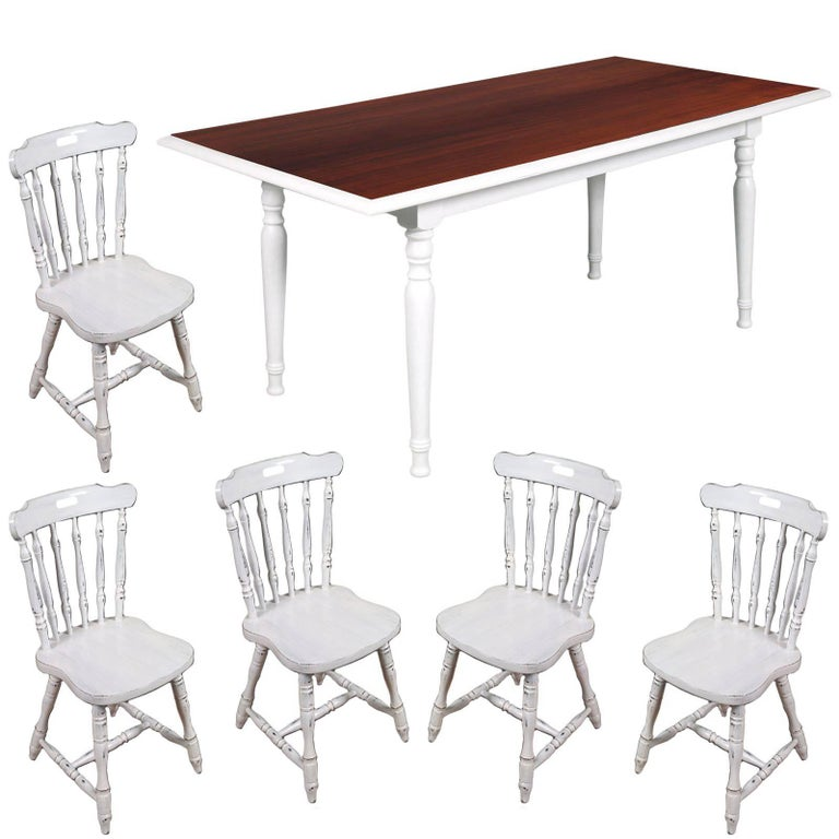 Italy Dining Chairs & Table, Old America, country , White color painted For Sale