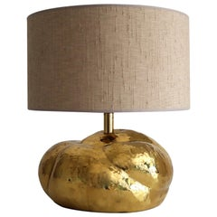 Italian Midcentury Organic Artisan Brass Table Lamp in Pumpkin Shape, 1950s