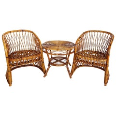 Italian Midcentury Organic Set of Bamboo Chairs and Table, 1970s