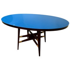 Italian Midcentury Oval Blue Dining Table by Silvio Cavatorta, 1950s