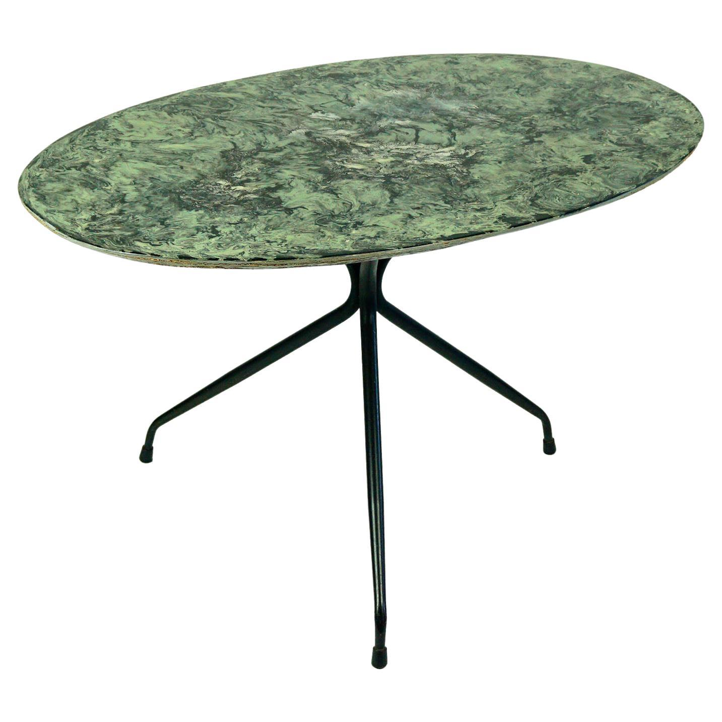 Italian Midcentury Oval Cocktail or Coffee Table with Faux Green Marble Top