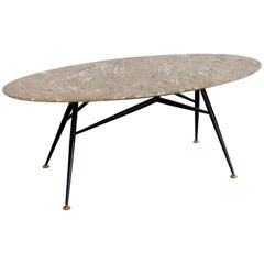 Italian Midcentury Oval Coffee Table with Marble Top and Brass Tips, 1950s
