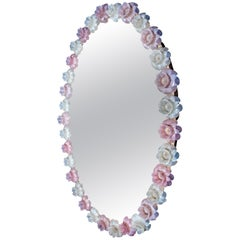 Italian Midcentury Oval Pink and White Charming Murano Glass Mirror