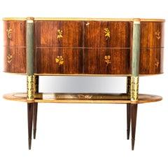 Italian Midcentury Oval Shaped Rare Bar Cabinet or Sideboard by Pierluigi Colli
