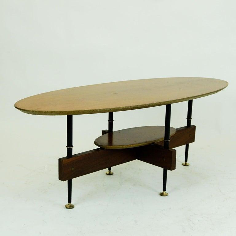 Mid-20th Century Italian Midcentury Oval Teak Coffee or Cocktail Table For Sale