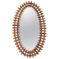 Italian Midcentury Oval Wall Mirror With Bamboo Frame, 1960s