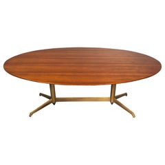 Italian Midcentury Oval Walnut Dining Table, 1950s