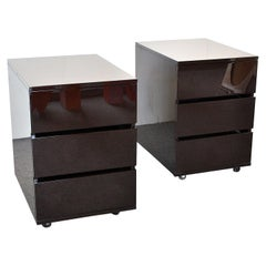 Italian Midcentury Pair of 80's Lacquered Night Stands