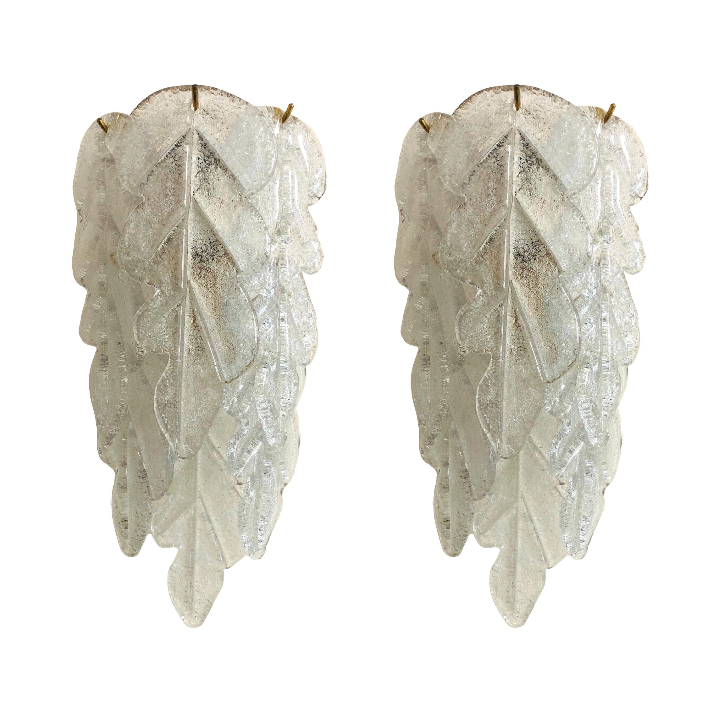Italian Midcentury Pair of Clear Murano Glass Wall Sconces by Mazzega, 1970s
