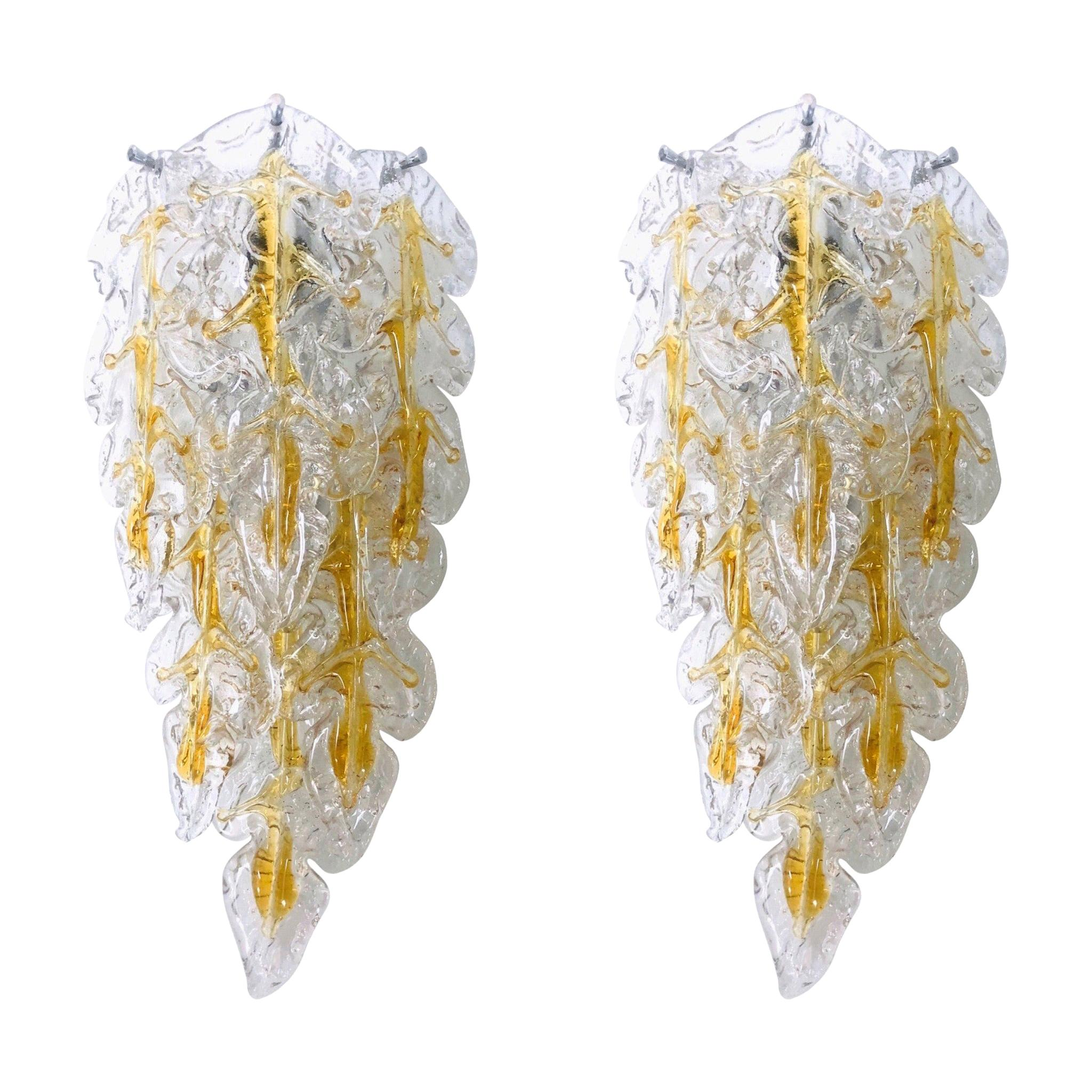 Italian Midcentury Pair of Murano Leaf Glass Wall Sconces by Mazzega, 1970s