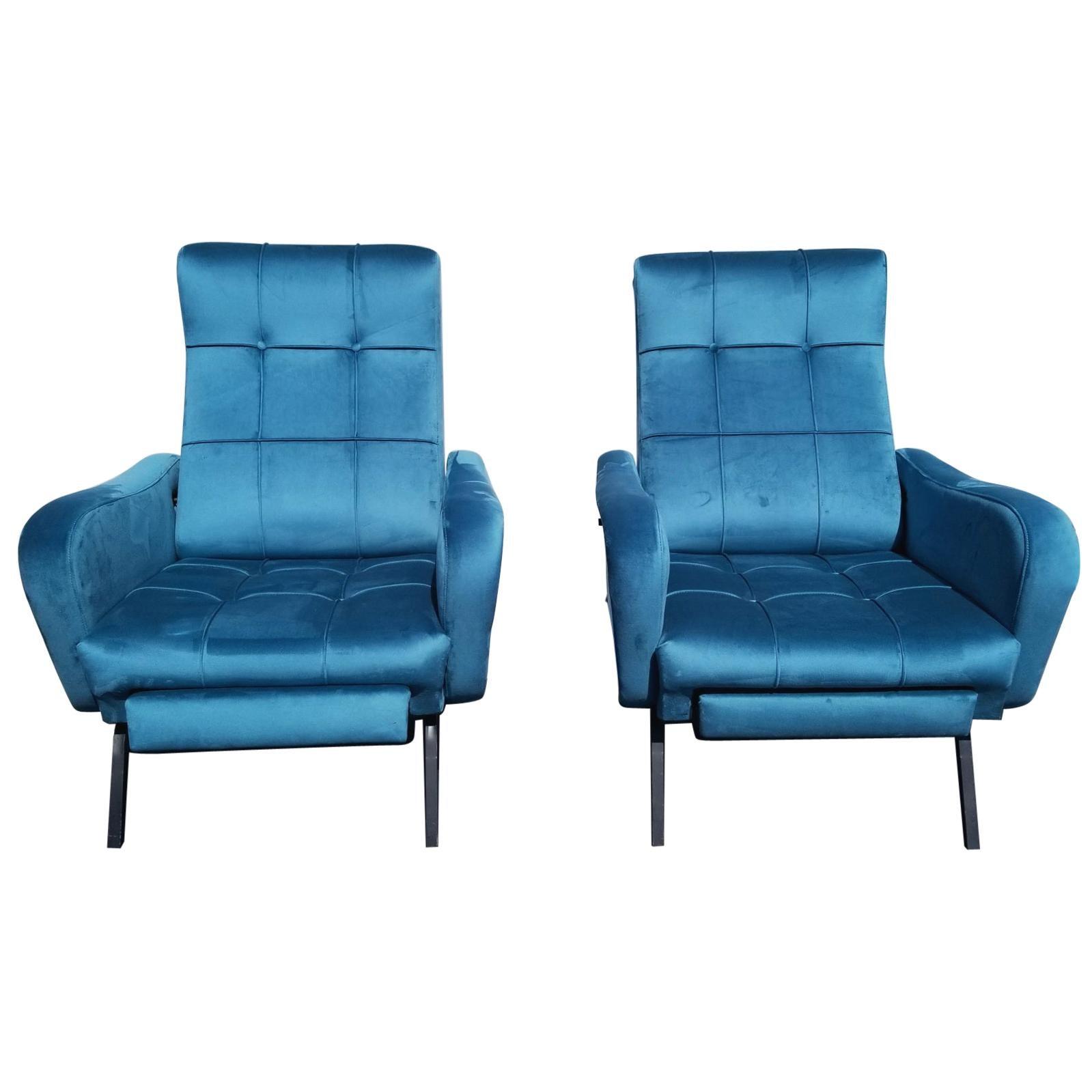 Italian Midcentury pair of Reclining Chairs