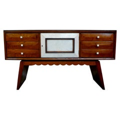 Italian Midcentury Paolo Buffa Style Wood and Shagreen Credenza or Commode