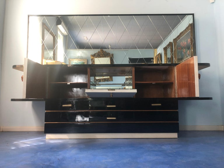 Italian Midcentury Parchment Black Lacquered Sideboard, 1950 For Sale 3