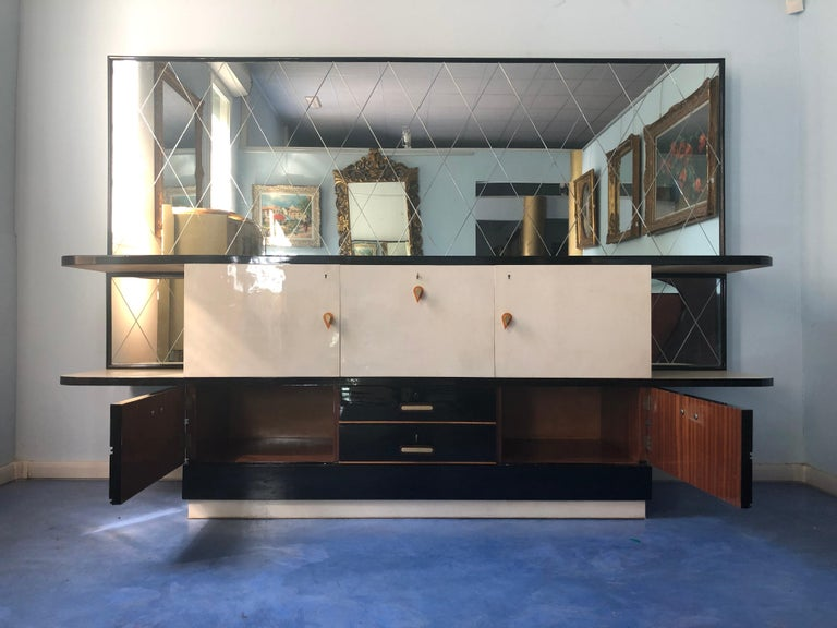 Italian Midcentury Parchment Black Lacquered Sideboard, 1950 For Sale 5