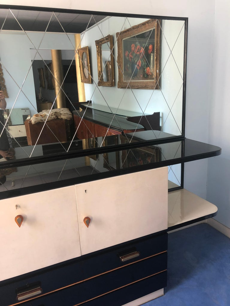 Italian Midcentury Parchment Black Lacquered Sideboard, 1950 For Sale 9