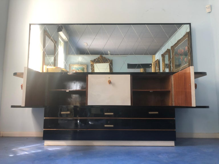 Italian Midcentury Parchment Black Lacquered Sideboard, 1950 For Sale 2
