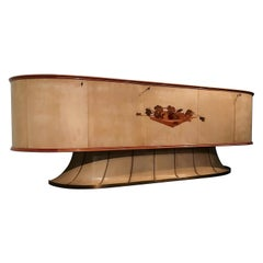 Italian Midcentury Parchment Sideboard with Inlay by Vittorio Dassi, 1950