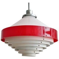 Italian Midcentury Pendant Lamp in Acrylic Aluminium and Brass by Stilnovo 1950s