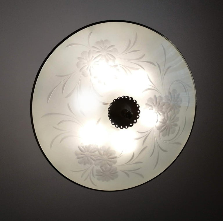 Italian Midcentury Pietro Chiesa UFO for Fontana Art Glass 6-Light Chandelier For Sale 7