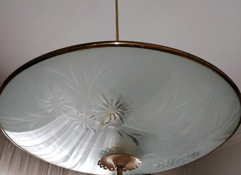 Italian Midcentury Pietro Chiesa UFO for Fontana Art Glass 6-Light Chandelier For Sale 10