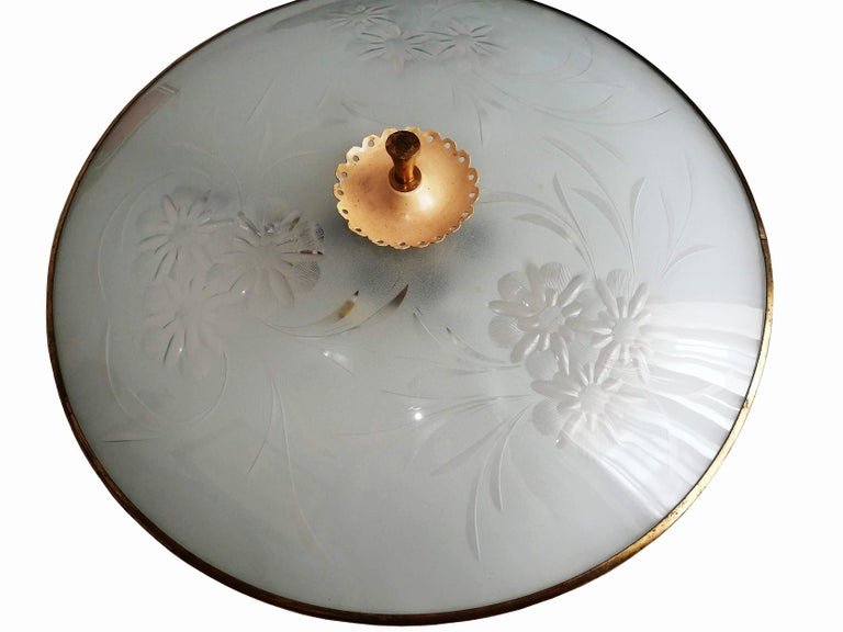Italian Midcentury Pietro Chiesa UFO for Fontana Art Glass 6-Light Chandelier For Sale 11