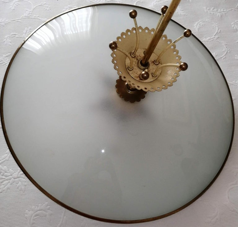 Italian Midcentury Pietro Chiesa UFO for Fontana Art Glass 6-Light Chandelier For Sale 13