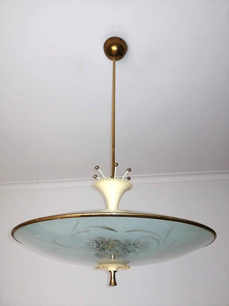Italian Midcentury Pietro Chiesa UFO for Fontana Art Glass 6-Light Chandelier For Sale 1