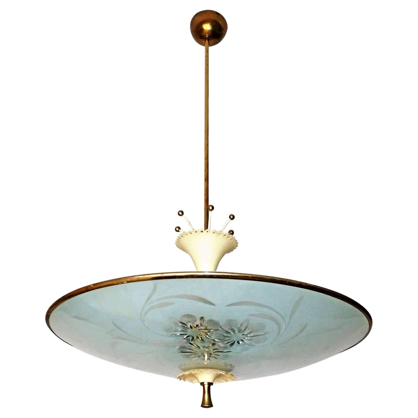 Italian Midcentury Pietro Chiesa UFO for Fontana Art Glass 6-Light Chandelier