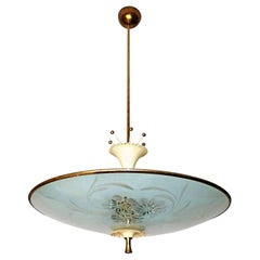 Italian Midcentury Pietro Chiesa UFO for Fontana Art Glass 6-Light Chandelier