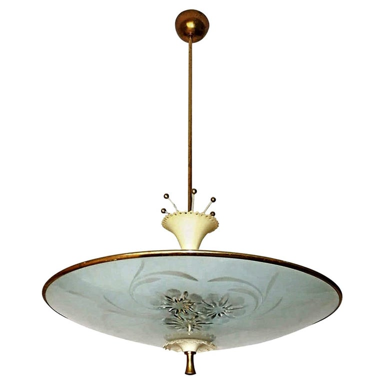 Italian Midcentury Pietro Chiesa UFO for Fontana Art Glass 6-Light Chandelier For Sale