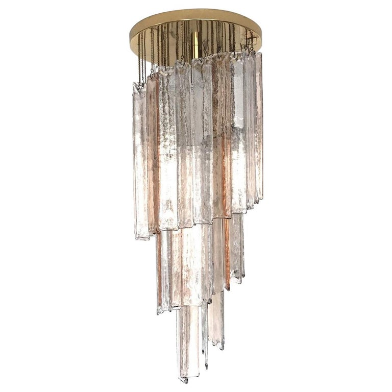 Italian Midcentury Pink Clear Mazzega Murano Glass Spiral Chandelier, 1970s For Sale