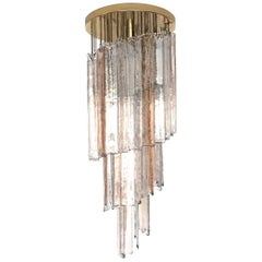 Italian Midcentury Pink Clear Mazzega Murano Glass Spiral Chandelier, 1970s