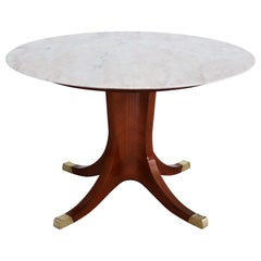 Italian Midcentury Pink Marble and Mahogany Veneer Dining Table, 1950s