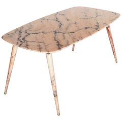 Italian Midcentury Pink Marble Coffee Table with Brass Tips, 1950s