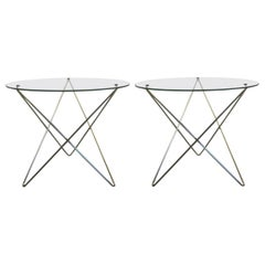 Italian Midcentury Polished Steel and Glass Side Tables, Carlo Paccagnini, Pair