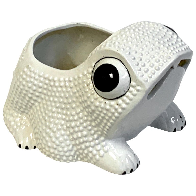 Italian Midcentury Pottery Frog Planter For Sale