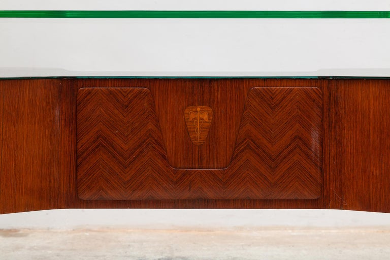 Cut Glass Italian Midcentury Presidential Desk by Vittorio Dassi, 1950s For Sale