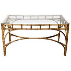 Italian Midcentury Rattan and Bamboo Table or Desk by Dal Vera, 1960s