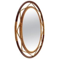Italian Midcentury Rattan Mirror, 1960s