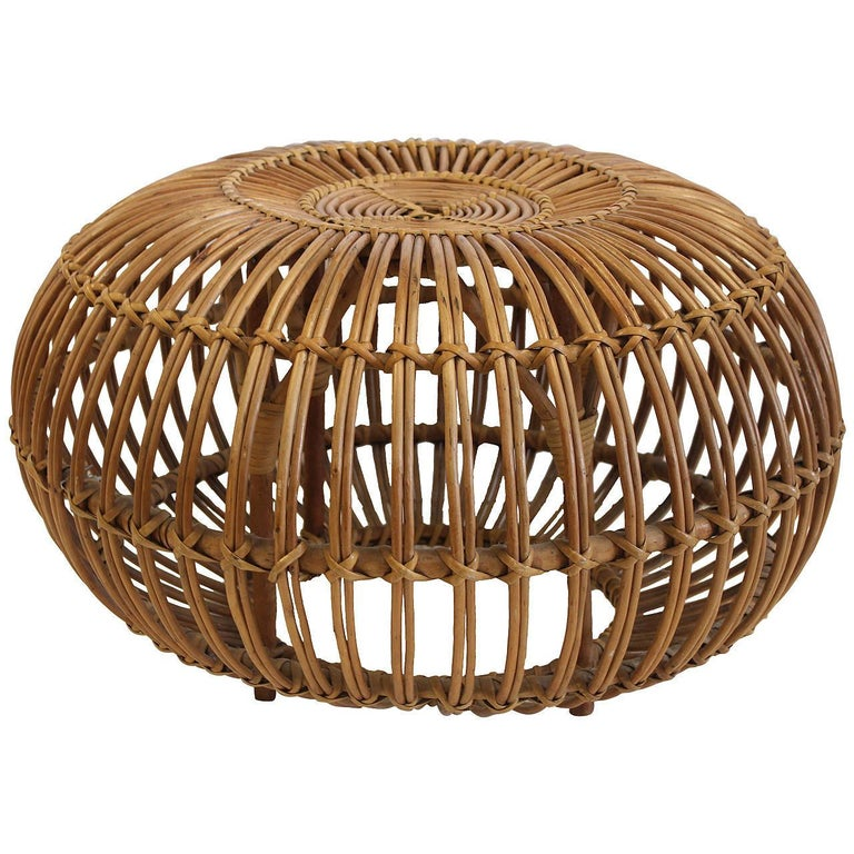 Italian Midcentury Rattan Stool/Ottoman by Franco Albini In Good Condition For Sale In Chicago, IL