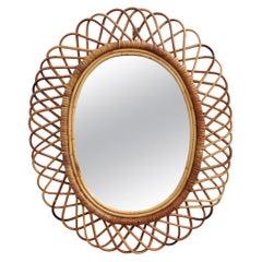 Italian Midcentury Rattan Wall Mirror, circa 1960s