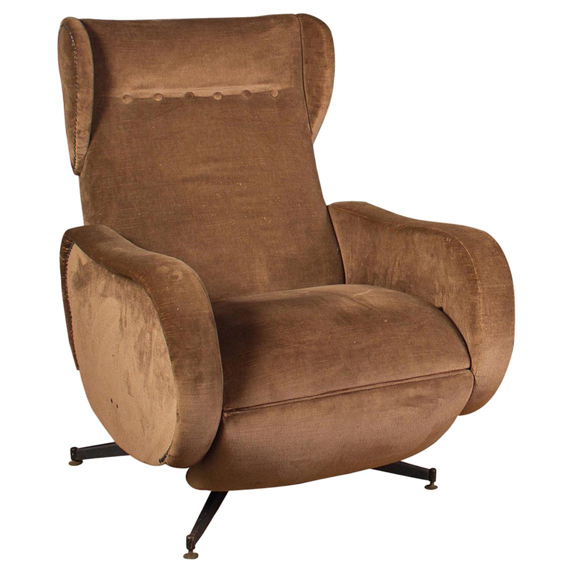 Italian Midcentury Reclinable Lounge Chair or Armchair, 1950