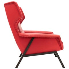 Italian Midcentury Red Armchair, 1950s