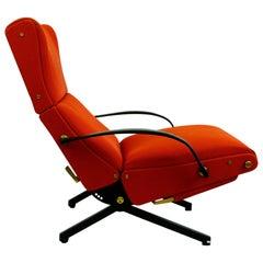Italian Midcentury Red Fabric P40 Lounge Chair by Osvaldo Borsani for Tecno