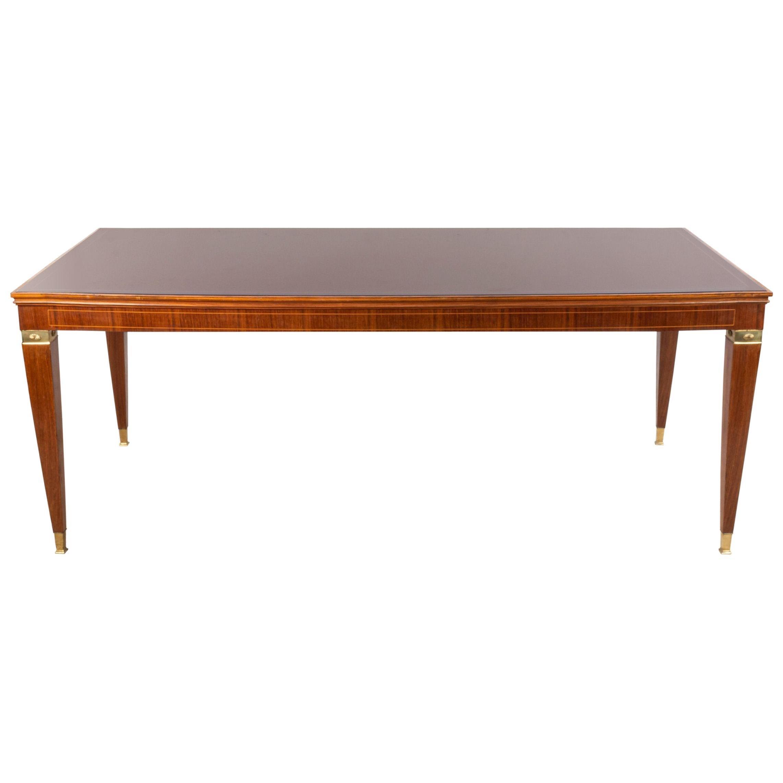 Italian Midcentury Paulo Buffa Red Glass Top Dining Table