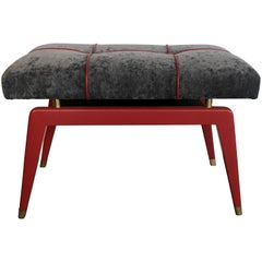 Italian Midcentury Red Lacquered Wood Stool Covered with Gray Textile