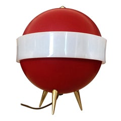 Italian Midcentury Red Table Lamp 'Lumino' by Angelo Brotto for Esperia, 1950s
