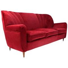 Italian Midcentury Red Velvet Sofa, 1940s